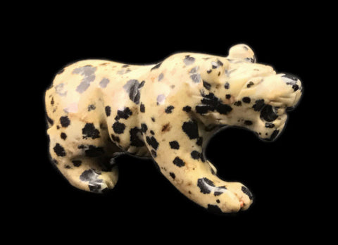 Walking Panther Hand Made Carved Gemstone Animal Tiny Totem Statue Figurine