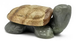 Turtle Picture Jasper and Olive Serpentine Hand Carved Gemstone Animal Totem