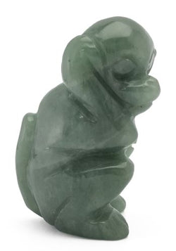 Monkey Green Aventurine Hand Carved Gemstone Animal Totem Statue Stone Sculpture