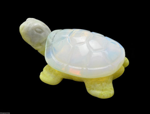Turtle Lemon Serpentine and Opalite Hand Carved Gemstone Animal Totem Statue