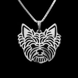 Yorkshire Terrier Dog Silver Charm Pendant Necklace Pet Lover Animal Jewelry