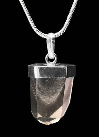Phantom Clear Quartz Crystal Point 925 SS Sterling Silver Capped Pendant #4