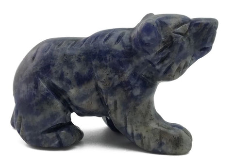 Medicine Bear Blue Sodalite Hand Carved Gemstone Animal Totem Statue Stone