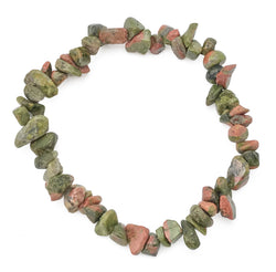 Gemstone Power Stretch Bracelet 22 Varieties Chip Stone Quartz Obsidian Jasper [Unakite]