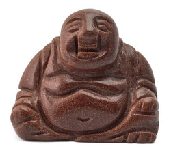 Sitting Buddha Red Goldstone Hand Carved Gemstone Totem Statue Stone