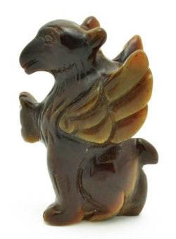 Griffin Tigers Eye Hand Carved Gemstone Animal Totem Statue Stone Sculpture