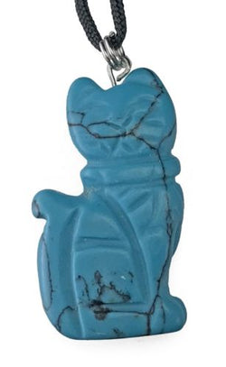 Turquoise Howlite Cat Pendant Hand Carved Gemstone Jewelry Necklace