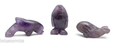 87ct Miniature Dolphin Penguin Whale Gemstone Collection Amethsyt 440