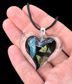 Dichroic Fused Glass Heart Pendant with Cord Mixed Colorful Rainbow Necklace A [HeartA9]