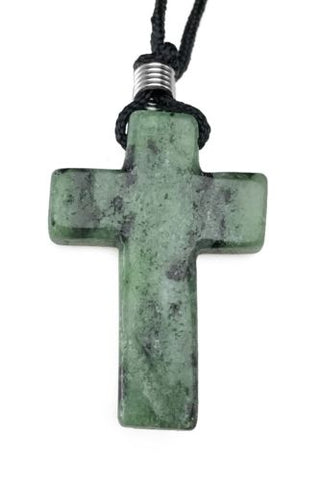 Zoisite Cross Pendant Hand Carved Gemstone Necklace Jewelry