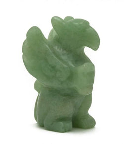 Griffin Green Aventurine Hand Carved Gemstone Animal Totem Statue Stone Gryphon