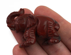 Elephant Red Jasper Hand Carved Gemstone Animal Tiny Totem Statue Stone