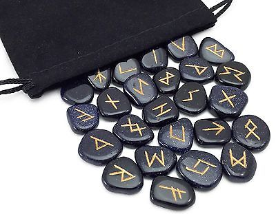 Blue Goldstone Elder Futhark Rune Set Hand Carved Gemstone Runic