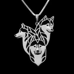 Siberian Husky Family Dog Silver Charm Pendant Necklace Puppy Pet Lover Jewelry