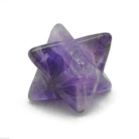 Merkaba Bead Kabbalah Purple Amethyst 17mm Hand Carved Gemstone MB212