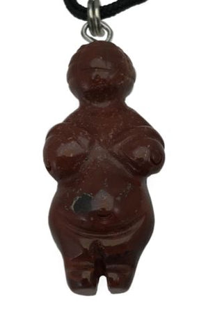 Venus of Willendorf Red Jasper Gemstone Pendant Hand Carved Goddess Necklace
