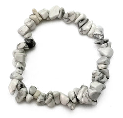 Gemstone Power Stretch Bracelet 22 Varieties Chip Stone Quartz Obsidian Jasper [Howlite - White]