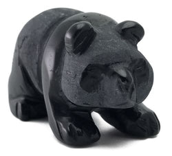 Walking Panda Black Obsidian Hand Carved Gemstone Animal Totem Statue Stone