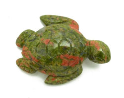 Sea Turtle Unakite Hand Carved Gemstone Animal Totem Statue Stone Sculpture