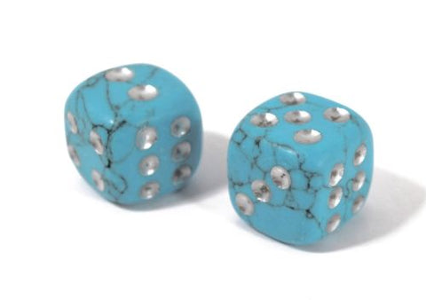 D6 Dice Pair Turquoise Howlite Gemstone Unique 6 sided Hand Carved Stone w Pouch