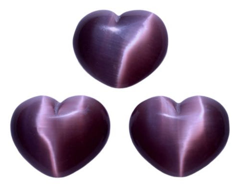 Lot of 3 Puffy Heart Dark Purple Fiber Optic Cats Eye Glass Pocket Hand Carved
