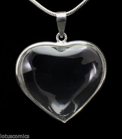 Real Quartz Crystal Heart Pendant .925 Sterling Silver with Free Chain