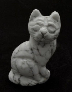 Sitting Cat White Howlite Hand Carved Gemstone Animal Totem Statue Stone
