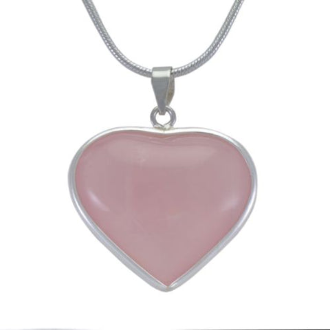 Heart Pink Rose Quartz Crystal Pendant 925 SS Sterling Silver Jewelry Necklace