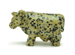 Cow Dalmatian Jasper Hand Carved Gemstone Animal Totem Statue Stone Sculpture
