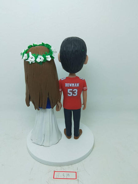San Francisco 49ers Groom NY Giants Bride Personalized Wedding Cake Topper SF