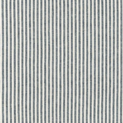 Woven Essex Linen - Pinstripes in Indigo