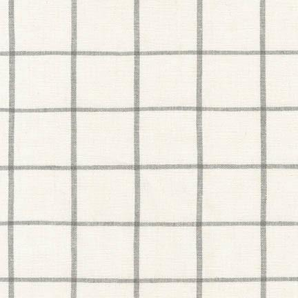 Woven Essex Linen - Stone Grid