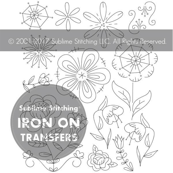 Fantasy Flowers Small Pack Embroidery Transfers by Sublime Stitching