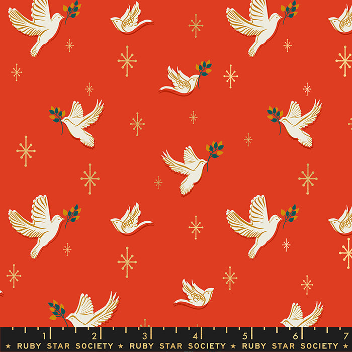 Doves in Poinsettia