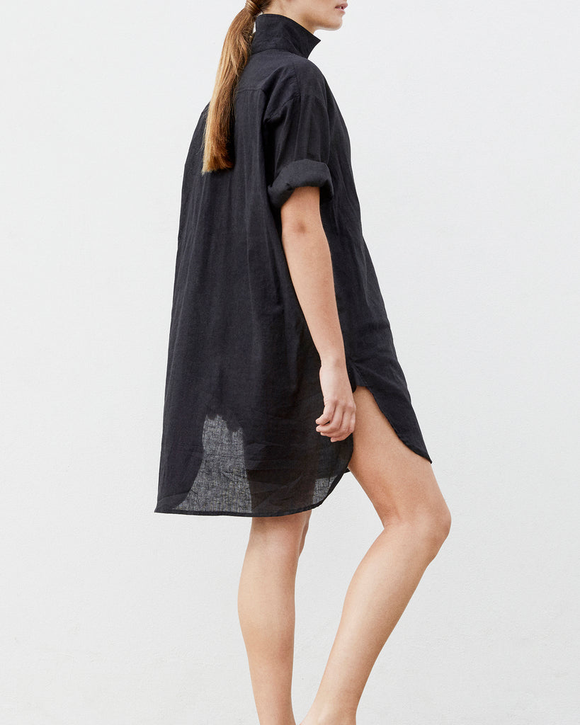 Linen Beach Shirt — Black