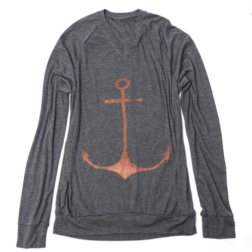Rust Anchor Unisex Lightweight V-Neck Pullover