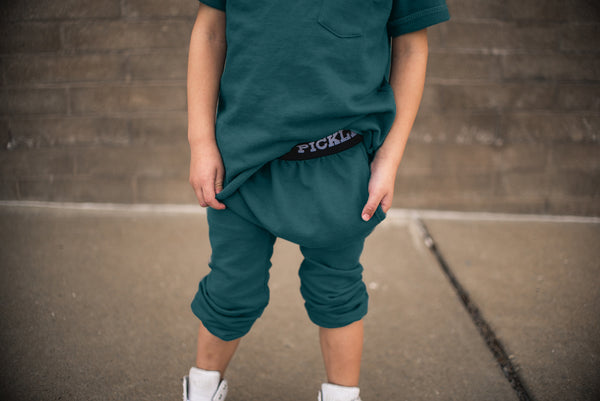Teal Drop-Crotch Joggers
