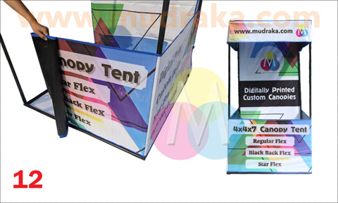 Illustrated steps for complete setup of canopy stall or demo tent