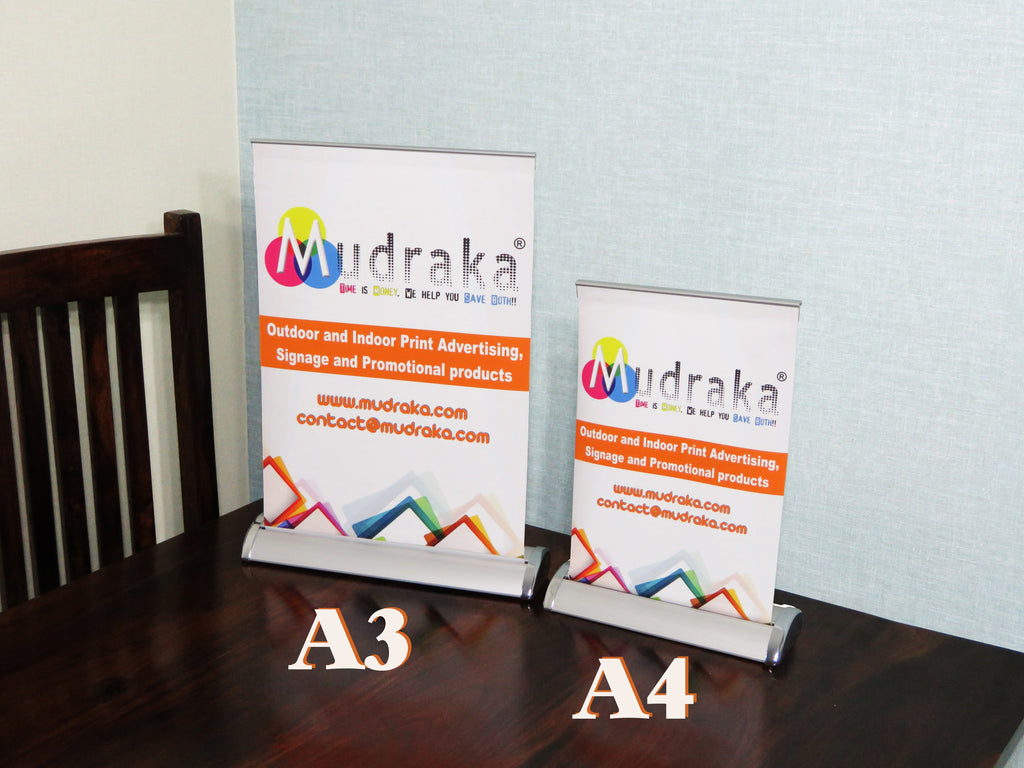 Table Top Standee A3 vs A4 Size Difference