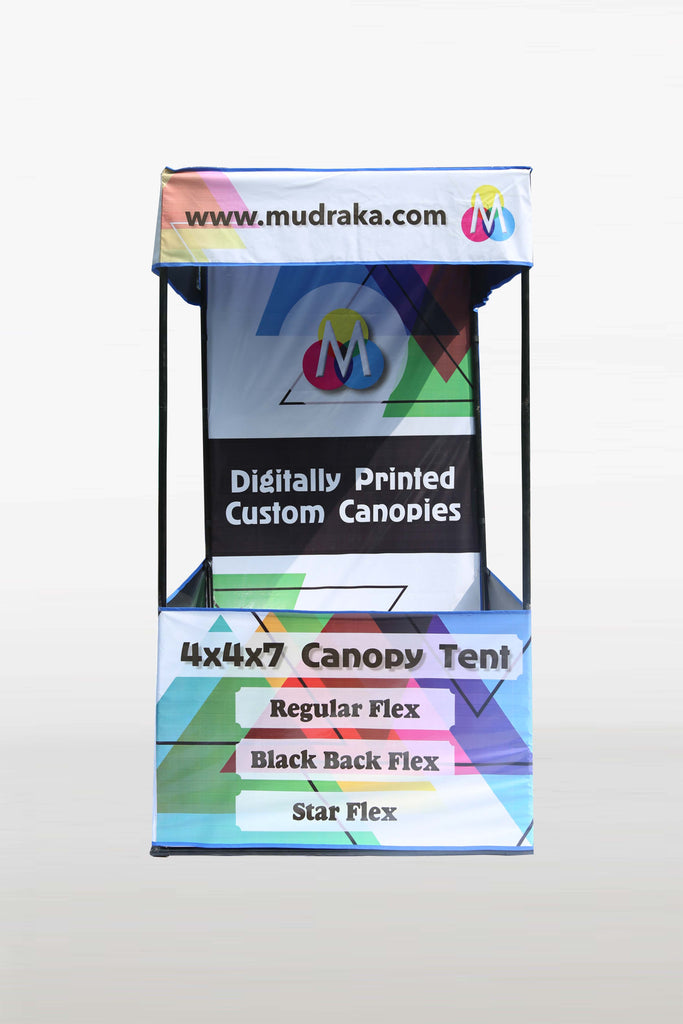 Demo tent with customised digital print on Mudraka.com