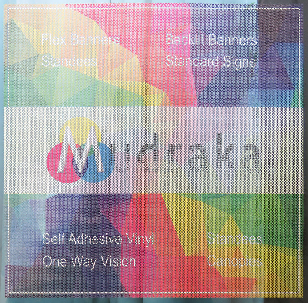 Mudraka One Way Vision perforated glass film with digital print