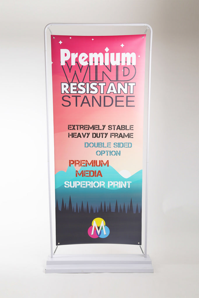 Wind resistant super stable upright iron frame standee on Mudraka.com
