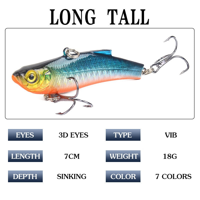 🐬1 PCS 7 cm/18G Artificial Japanese Tomb VIB Fishing Lure lead inside Hard Bait Diving Swivel Bait🐬