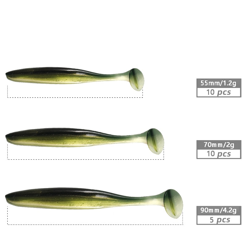 🐬BRAND NEW-FREE + S&H!! 10pcs Easy Shiner Soft Wobblers Fishing Lures 2021 Silicone Bait🐬