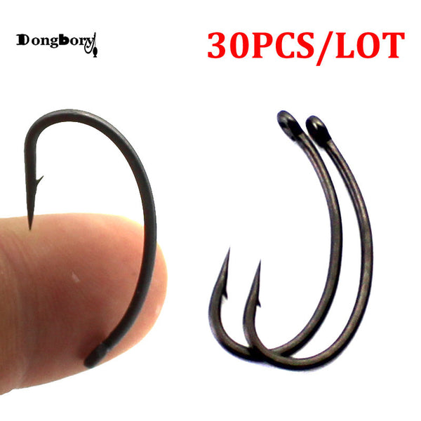 🐬FREE + S&H!!🐬  Teflon Coated Matt Black Barbed Curve Shank Gripper Hooks