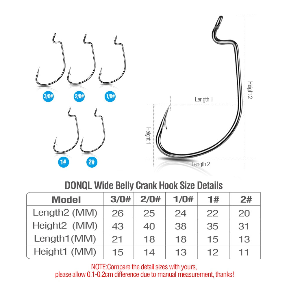 DONQL 50/100pcs Wide Crank Fishing Hooks Carbon Steel