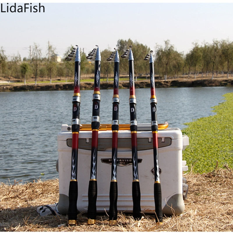SPECIAL - UNDER $20 LidaFish High Quality 2.1m 3.6m Telescopic Carp Spinning Fishing Rod