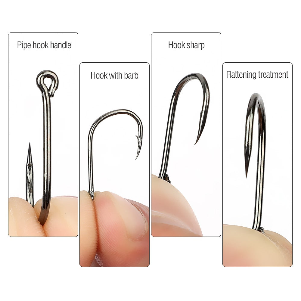 """NEW FOR 2020""  ⭐FREE + S&H⭐  300pcs/Box High Carbon Steel Fishing hooks Mixed Size"