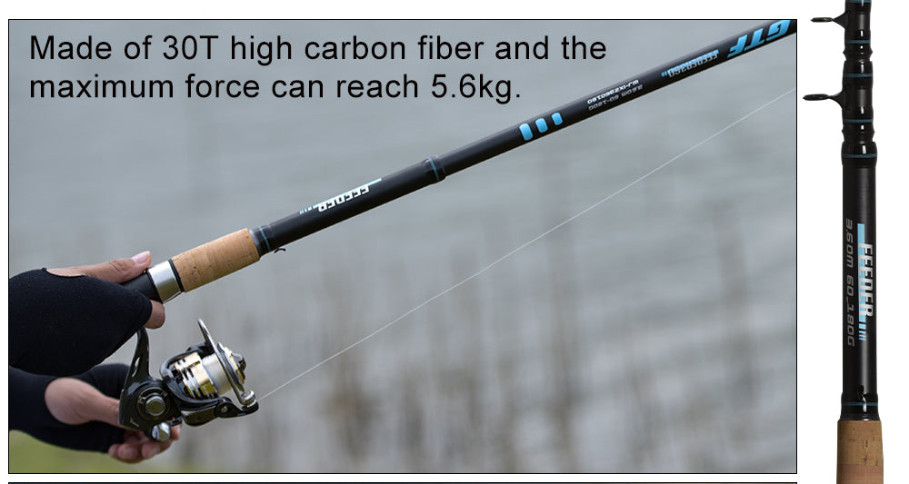 ⭐Obei Feeder FIshing Rod Telescopic Spinning Casting Travel Rod3.0 3.3 3.6m Pole⭐