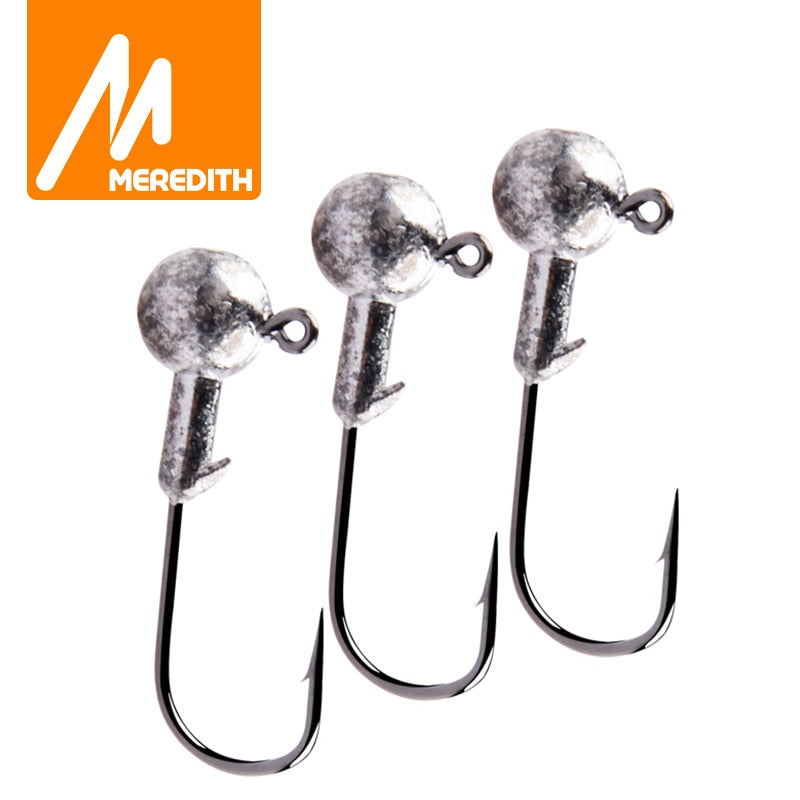 MEREDITH 10PCS Lead Jig Head 1.5g 2g 3.5g 5g 7g 10g 14g Lead Head Hook pike fishing accessories